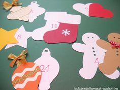 Oggi vi voglio mostrare quale sarà il calendario dell'Avvento che metterò nella mia classe.  Ho ritagliato un albero di Natale di cartoncino, alto 1 metro e mezzo, ed ho incollato le sagome bianche su questo. I miei bimbi ogni giorno incolleranno una decorazione colorata sulla sagoma corrispondente così, alla fine, in classe avremo un bell'albero decorato.