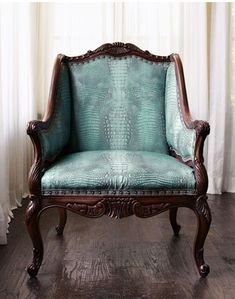 Old Hickory Tannery Turquoise Chair, Neiman Marcus Chair Upholstery, Chair Cushions, Upholstery Repair, Upholstery Cleaning, Take A Seat, Vintage Chairs, Western Decor, Home Furnishings, Arredamento
