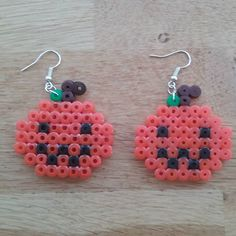 Jack-o-Lantern Halloween earrings  perler beads by perlerbeadsearrings