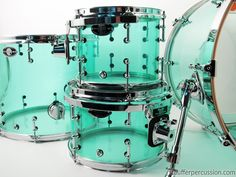 This beautiful example of Coke Bottle Green features 10″x8″ and 12″x8″ rack toms with special order Yamaha-style mounts, 16″x14″ floor tom, and a killer 20″x18″ bass.  Coke Bottle Green is one of the best acrylic colors around, and for good reason, check it out: