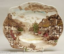 Polychrome Brown Transferware Platter Cottage Mother Daughter