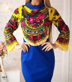 Blue cocktail dress Russian bridesmaid dress Platok by YesADress