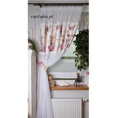 Firana na woalu ze wstawką koronką fiolet Shabby Chic, Curtains, Bath, Kitchen, Home Decor, Houses, Blinds, Bathing, Cooking