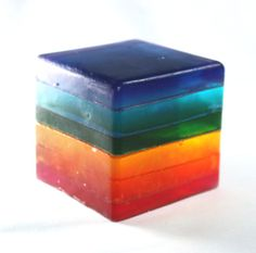 Rainbow Soap Cube  stripes glycerin custom scent by WizardAtWork, $6.00