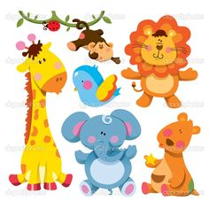 Buy Cute Animals Collection by on GraphicRiver. cartoon illustration of cute animals collection Cartoon Baby Animals, Cartoon Drawings Of Animals, Cartoon Elephant, Cartoon Pics, Cute Baby Animals, Funny Giraffe, Baby Illustration, Cute Animal Videos, Animal Wallpaper