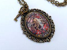 Steampunk Halskette in rot bronze mit Krake antik von Schmucktruhe