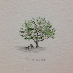 Day 287 : Special place. 28 x 30 mm. #365paintingsforants #miniature #watercolor #tree #dogs (at Vredehoek)