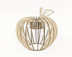 Wooden pendant light - Brown wooden handmade lamp - Modern apple shape pendant light - Unique interior lightning - Exclusive pendant light