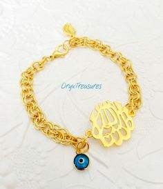 22k Gold Plated Mashallah  Bracelet Chunky chain by OryxTreasures