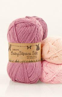 Barevnice příze DROPS BabyAlpaca Silk ~ DROPS Design  jde o směs 70% velmi jemné baby alpaky a 30% morušového hedvábí, termoregulační schopnosti