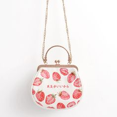 Retro Frame Ladies Metal Chains Clutch Coin Purses Women's Flap Crossbody Messenger Bag Strawberry Mini Bag Girls Gift