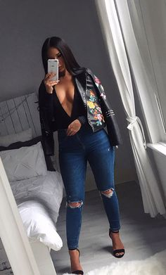 Ruby Fairs looking hot in the SilkFred 'Floral Embroidered Black Leather Jacket' .....fashion, blogger, inspo, street style, autumn, outerwear, winter, floral, casual, party, studded