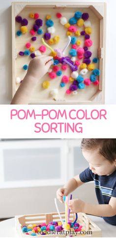 Super easy to prep color sorting activity for toddlers! Minimal materials and super fun! Outdoor Activities For Kids, Toddler Activities, Crafts For Kids, Learning Colors, Kids Learning, Preschool Weekly Themes, Preschool Ideas, Sorting Activities, Motor Activities