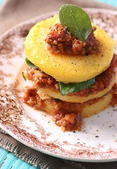 Stacked Polenta with Bolognese Sauce - Lexies Kitchen | Gluten-Free Dairy-Free Egg-Free -
