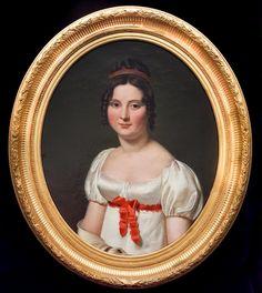 Portrait D'une Dame Empire Français Du 19e Siècle