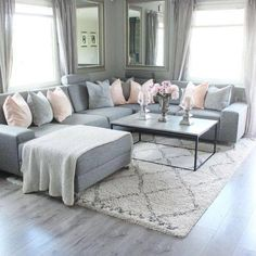 New living room grey couch sectional Ideas Living Room Decor Cozy, New Living Room, Interior Design Living Room, Home And Living, Bedroom Decor, Living Room Ideas With Grey Couch, Grey Living Room Furniture, Black White And Grey Living Room, Cozy Living