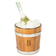 Cathy's Concepts Personalized Rustic Ice Bucket - B, Brown Silver