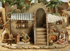5 Inch Scale Pottery and Bakery Shop by Fontanini Christmas In Italy, Christmas Holidays, Christmas Crafts, Christmas Decorations, Christmas Nativity Scene, Christmas Villages, Fontanini Nativity, Pottery Shop, Modelos 3d