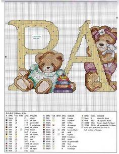 Schema punto croce Baby Is Love 4 Baby Cross Stitch Patterns, Cross Stitch For Kids, Cute Cross Stitch, Cross Stitch Animals, Cross Stitch Designs, Cross Stitch Numbers, Cross Stitch Boards, Cross Stitch Needles, Cross Stitch Alphabet