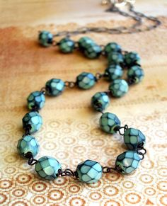 Denim Blue Czech Glass and Oxidized Sterling by JustBeCreative, $34.00