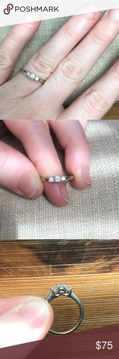 1/6ct t.w. diamond promise ring 14k 1/6c.t.w. white gold plated 3- stone diamond promise ring from Kay jewelers. I do not have paperwork to go with it- it was a gift.   **Will entertain all offers** Jewelry Rings