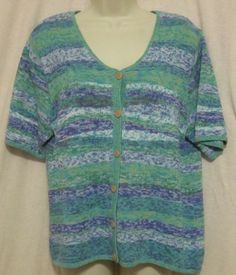 Coldwater Creek Womens SS Large Cardigan Sweater New Blue Purple Green Knit 14 L