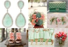 Mint Green and Peach Wedding Theme - Dress up in these delicious Mint Green & Peach colours on your wedding day! #mint #green #mintgreen #peach #wedding #theme #bridalwear #bouquets