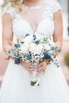 Bride - Blush and Navy Bridal Bouquet by Dream Designs Florist & Wedding Boutique - Citrus Club Wedding in Downtown Orlando - Orlando Wedding Venue - Navy and Blush Wedding - Photo by Captured by Belinda - Orange Blossom Bride - www.orangeblossombride.com - click pin for more