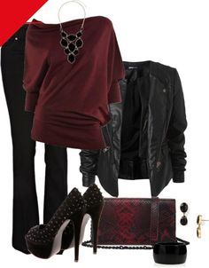 """burgundy top: outfit """"Girls Night Out"""" Mode Outfits, Winter Outfits, Casual Outfits, Fashion Outfits, Fashion Trends, Fashion Ideas, Womens Fashion, Dress Casual, Ladies Fashion"""