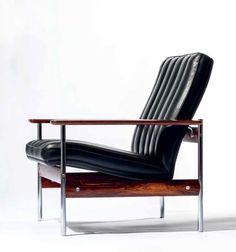 Sven Ivar Dysthe; #1001 Chromed Steel and Teak Armchairs for Dokka, 1959.