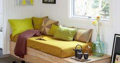 Tee se itse vuodesohva vanerista! Tälle sohvalle kelpaa vieraan köllähtää yöksi jos toiseksikin.