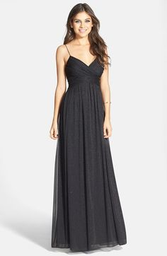 Free shipping and returns on Hailey by Adrianna Papell Glitter Mesh Gown at Nordstrom.com. The spaghetti-strapped surplice neckline hits right at the gathered Empire waist of this flowing mesh gown diffused with glitter. The allover midnight twinkle, alluring sway and open back of this design is sure to attract compliments.