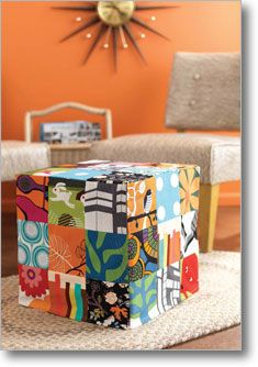 Why limit yourself to one fabric when there are so many to choose from? Liven up a simple cube-shaped footstool with a mod patchwork slipcover of graphic prints. It's so easy to make you could stitch one for every room. Cube Pattern, Unique Furniture, My Living Room, Floor Rugs, Slipcovers, Stitch Patterns, Sewing Projects, Upholstery, Cushions