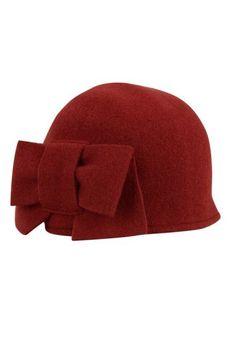 seeberger wool hat bow wine red bordeaux Direct leverbaar uit de webshop van www.ilovevintage.nl/
