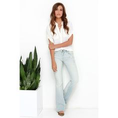 Blank NYC Shibby Light Wash Distressed Flare Jeans ($79) ❤ liked on Polyvore