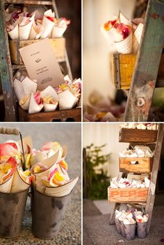 DIY petal cones displayed in vintage crates and on a ladder - LOVE!