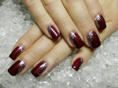 Edge sparkles on dark red, wine colored, scarlet Nail Art