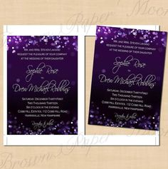 Purple Night Sky You-Print Wedding Invitations: 5 x 7 - Instant Download on Etsy, $16.00