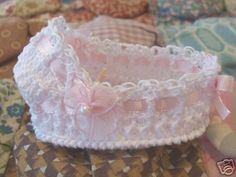 love this, but want something with legs --- Miniature Crochet Bassinet 3 inch OOAK Thread  by picotlace60, $14.99
