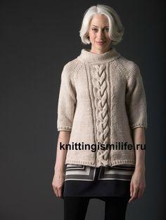 Пуловер реглан с косой по центру