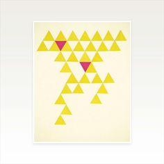 Geometric Art Modern Minimalist Triangle Pattern Yellow and