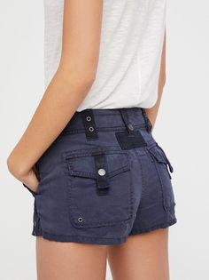 Itsy Bitsy Military Short | Borrowed-from-the-boys soft shorts with a military-inspired feel. Tiny fit creates a femme touch.      * Outer pockets with snap button and grommet details  * Belt loops