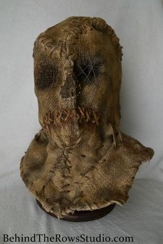 Scarecrow Burlap Mask Horror Halloween Mask by BehindTheRowsStudio, $250.00