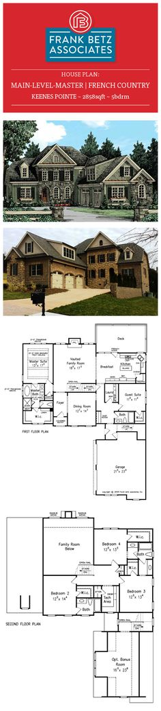Keenes Pointe: 2858sqft|5bdrm French Country Cottage, Main level Master, Frank Betz house plan.