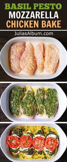 Basil Pesto Tomato Mozzarella Chicken Bake - Dinner's On! From Julias Album This was super fast and easy, and as good as you would expect.Minus the dairy. Basil Pesto Recipes, Chicken Pesto Recipes, Recipes With Pesto, Recipes With Mozzarella, Baked Chicken Meals, Fried Chicken, Pesto Mozzarella Chicken, Pesto Chicken Bake, Chicken With Pesto
