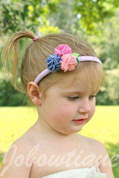 Triple Mini Felt Carnations Flower Headband by Jobowtique on Etsy, $12.00