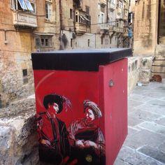 by C215 - Tribute to Caravaggio in Valetta, Malta - Oct 2014