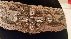 Women's lace headband gypsy crystals light pink by SarahsBlingandLace