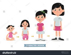 Age measurement of growth girl. Vector illustration. Stages of development.