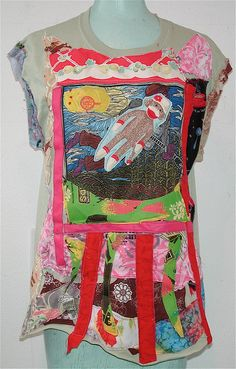 MUSIC ART Upcycled & ALTERED  Wearable COLLAGE SHIRT  mybonny